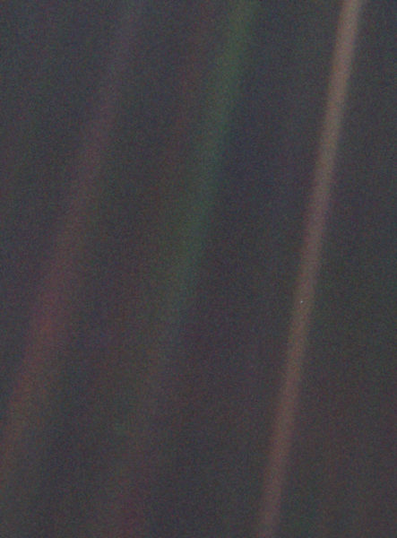 Taken from NASA's web site. If you darken the image or increase the contrast, the Pale Blue Dot becomes more visible, but for posting I preferred to maintain the original image.
